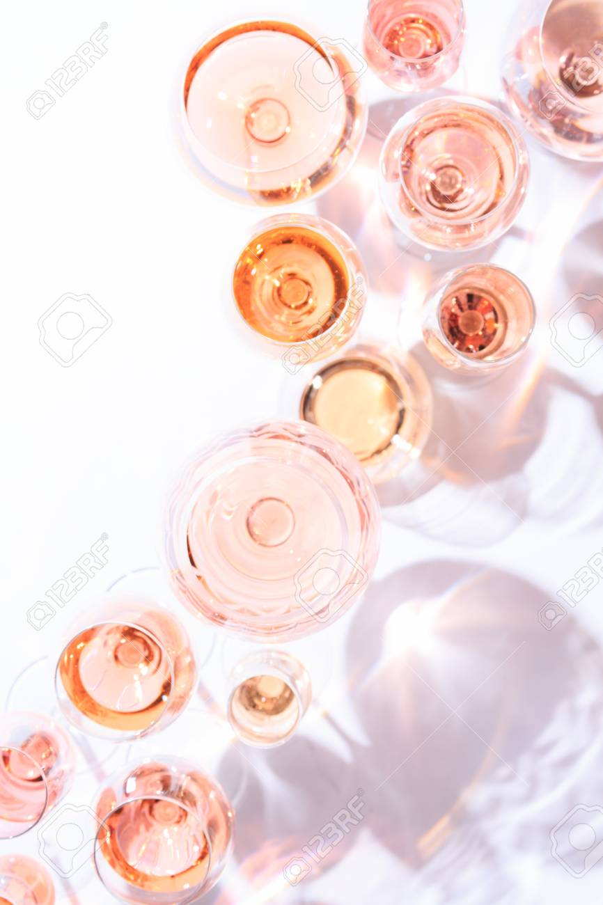 Many Glasses Of Rose Wine At Wine Tasting. Concept Of Rose Wine.. Stock Photo, Picture And Royalty Free Image. Image 75474979.