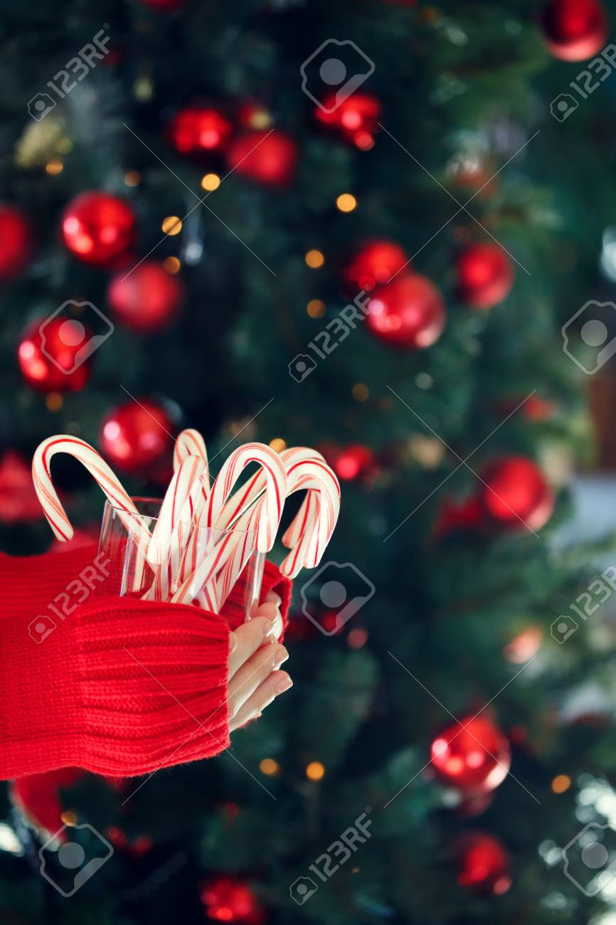 Girl Holding Stack Of Peppermint Candy Canes Christmas Holiday Concept Background Vertical
