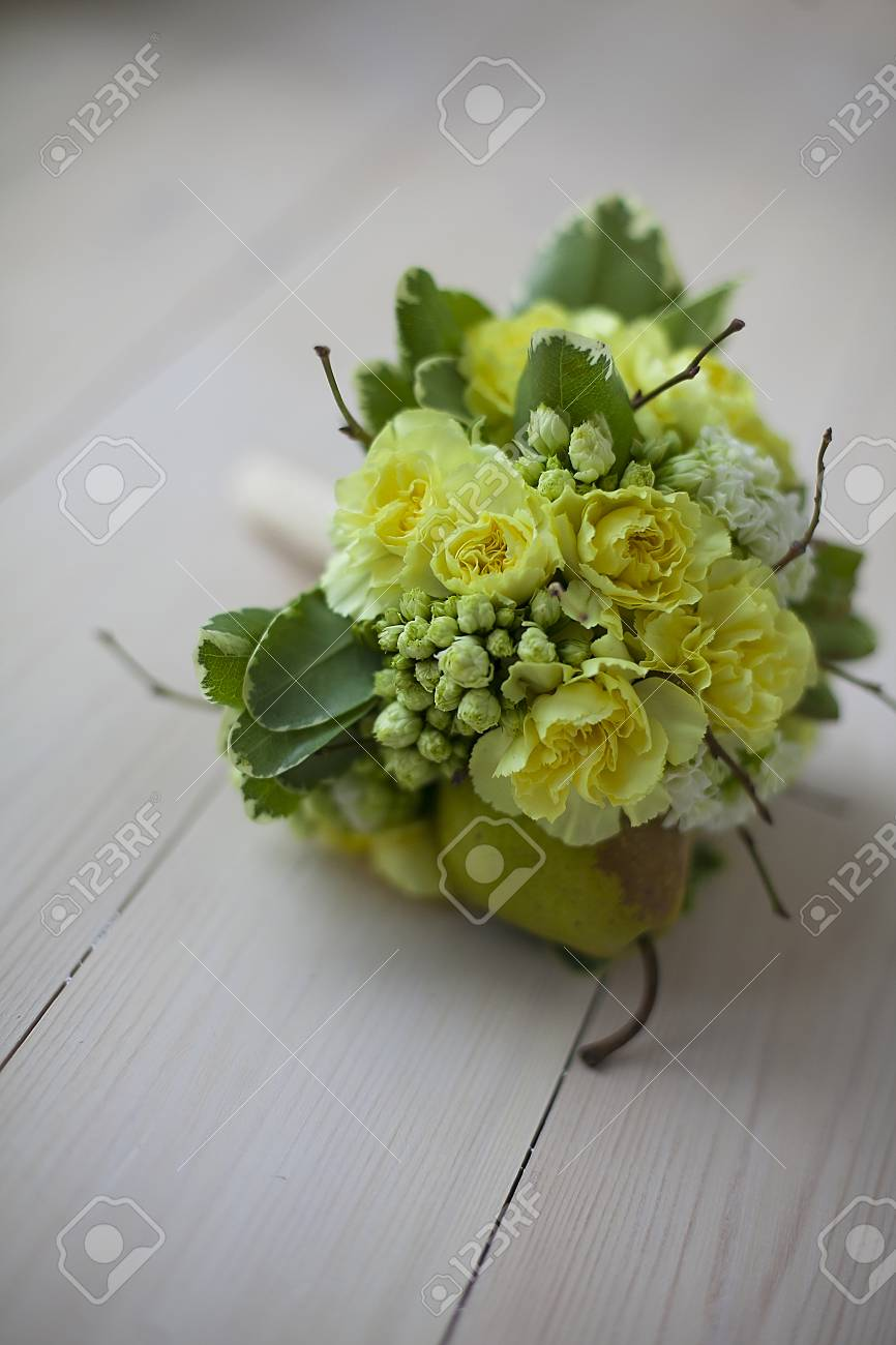 Beauty Colored Floral Bouquet For Romantic Lovers On Wooden Board