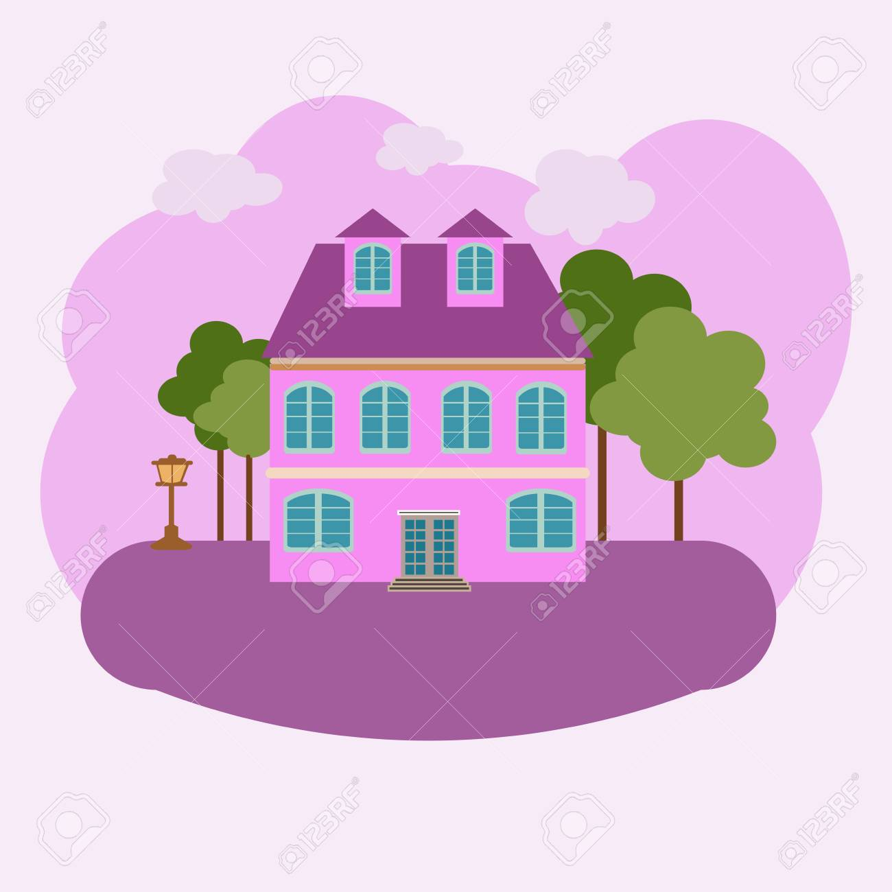 Vector Abstract House Building In Courtyard. With Trees And Lantern ...