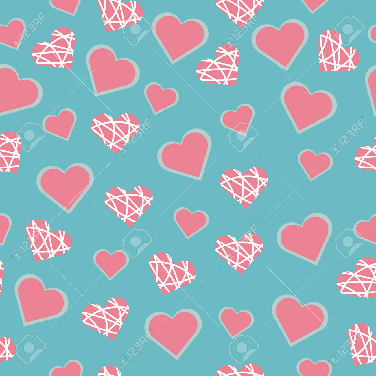 Seamless vector pattern with heart pink shapes for Valentine's Day holiday - 161212621