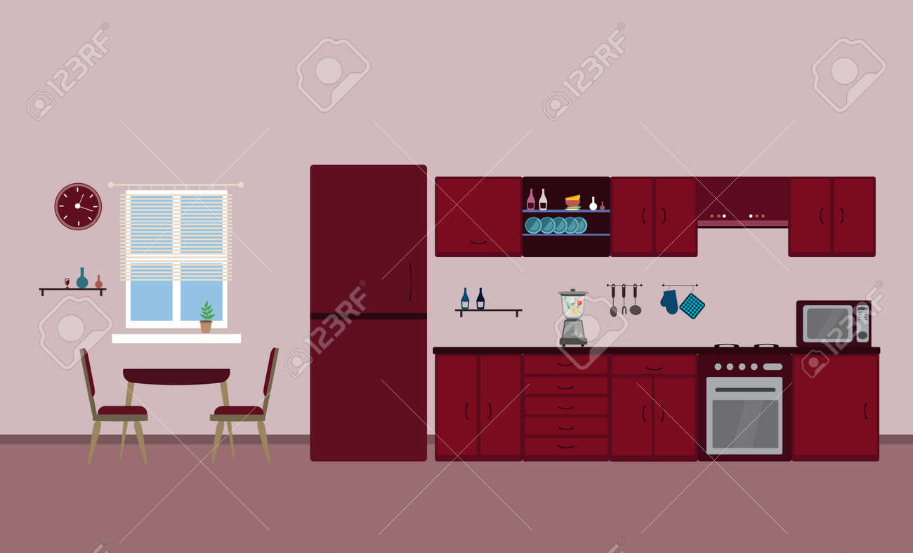 Kitchen red interior dining flat illustration with blender oven refrigerator table with wood table and chair and window and dishes on pink background - 161212626