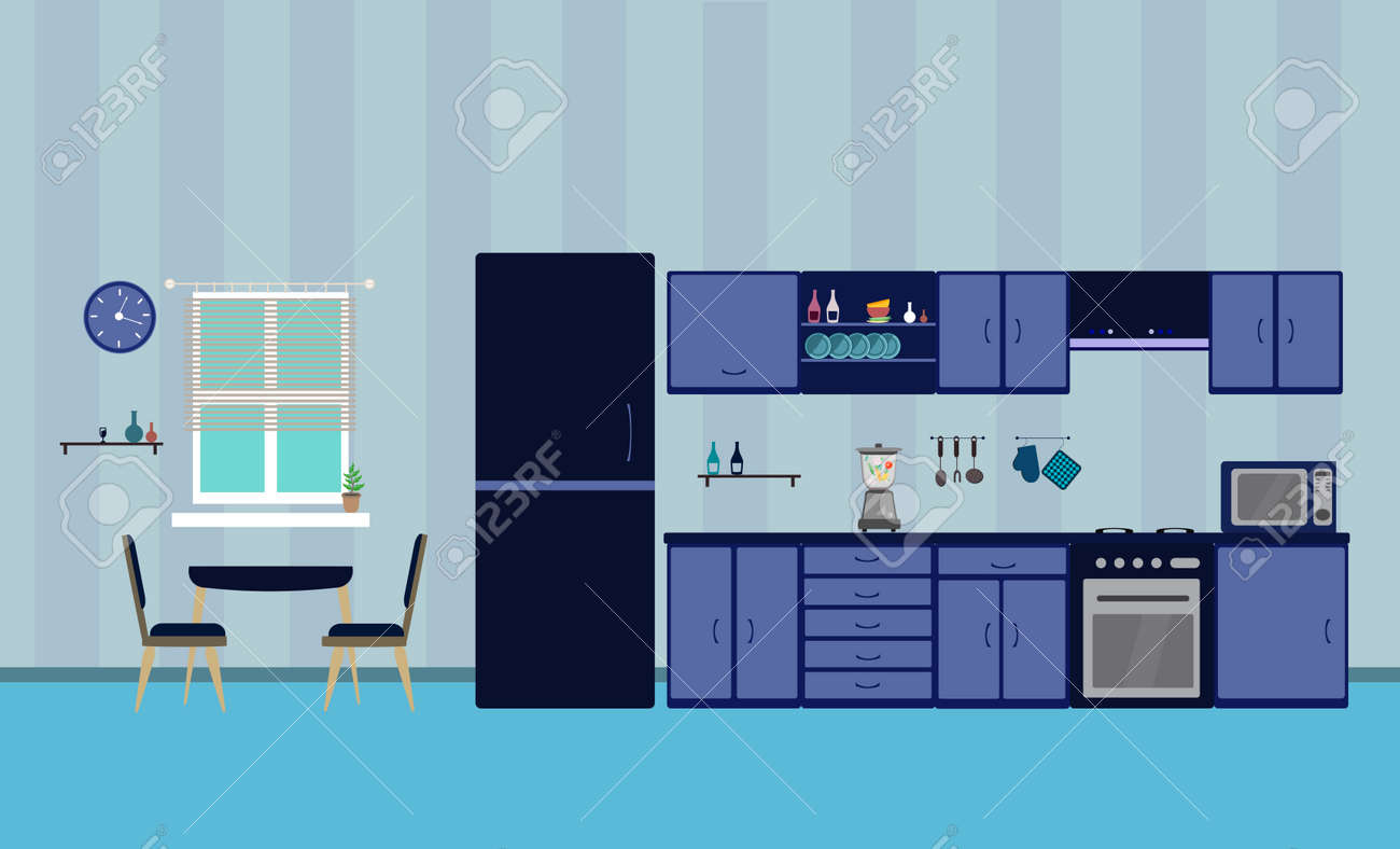Kitchen blue interior designe dining flat illustration with blender oven refrigerator table with wood table and chair and window and dishes on a blue background - 161212629