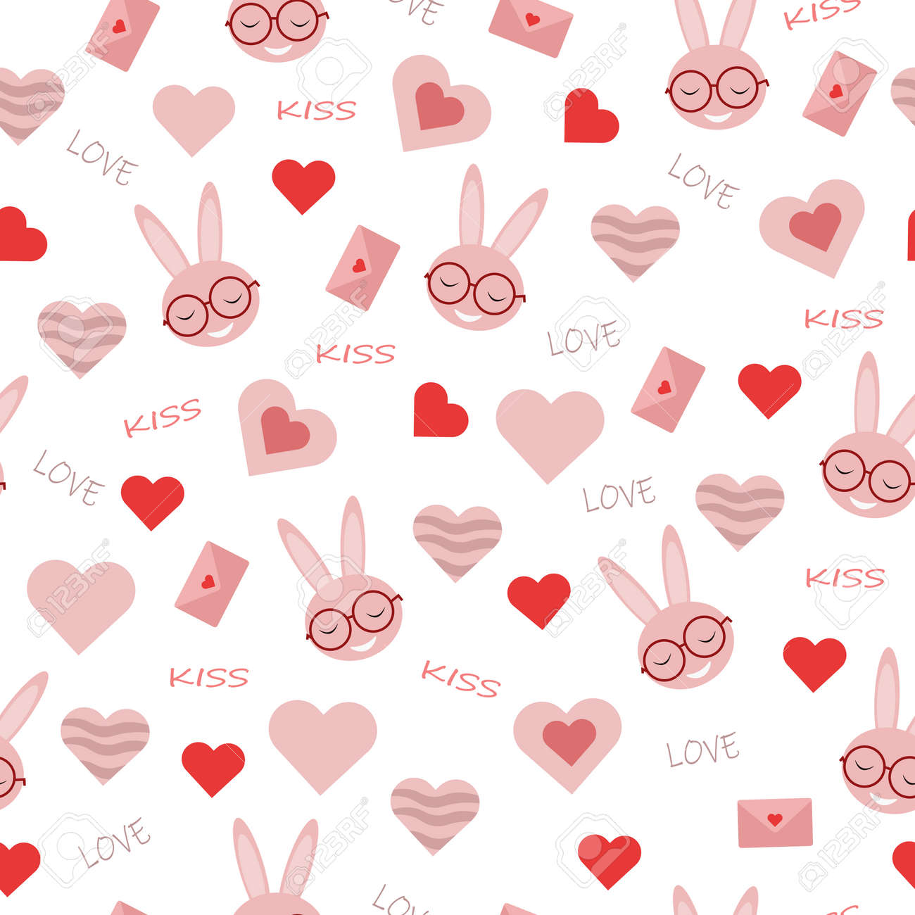 seamless vector pattern with heart shapes pink envelope with rabbit in glasses and inscription love for valentines day holiday - 161212630