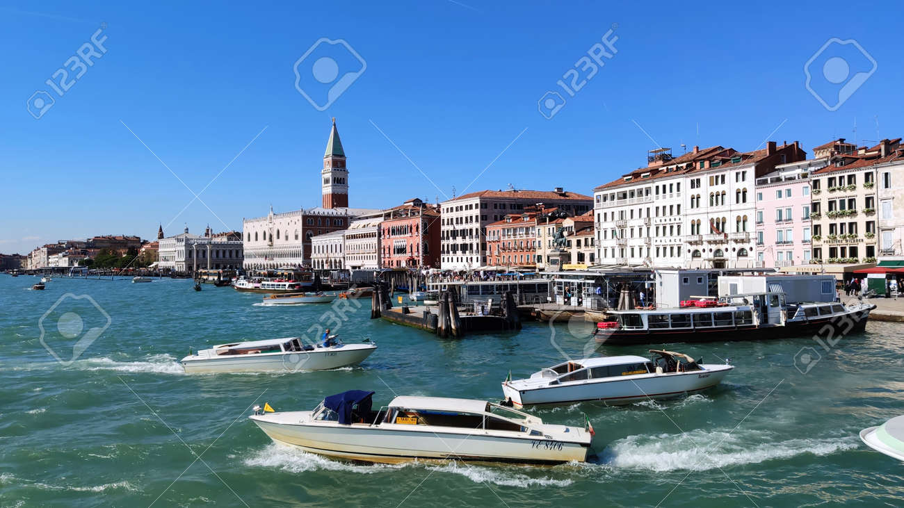 Venice Italy - October 10, 2019. Panorama of a beautiful view of the Grand Canal with houses and San Marco - 161601481
