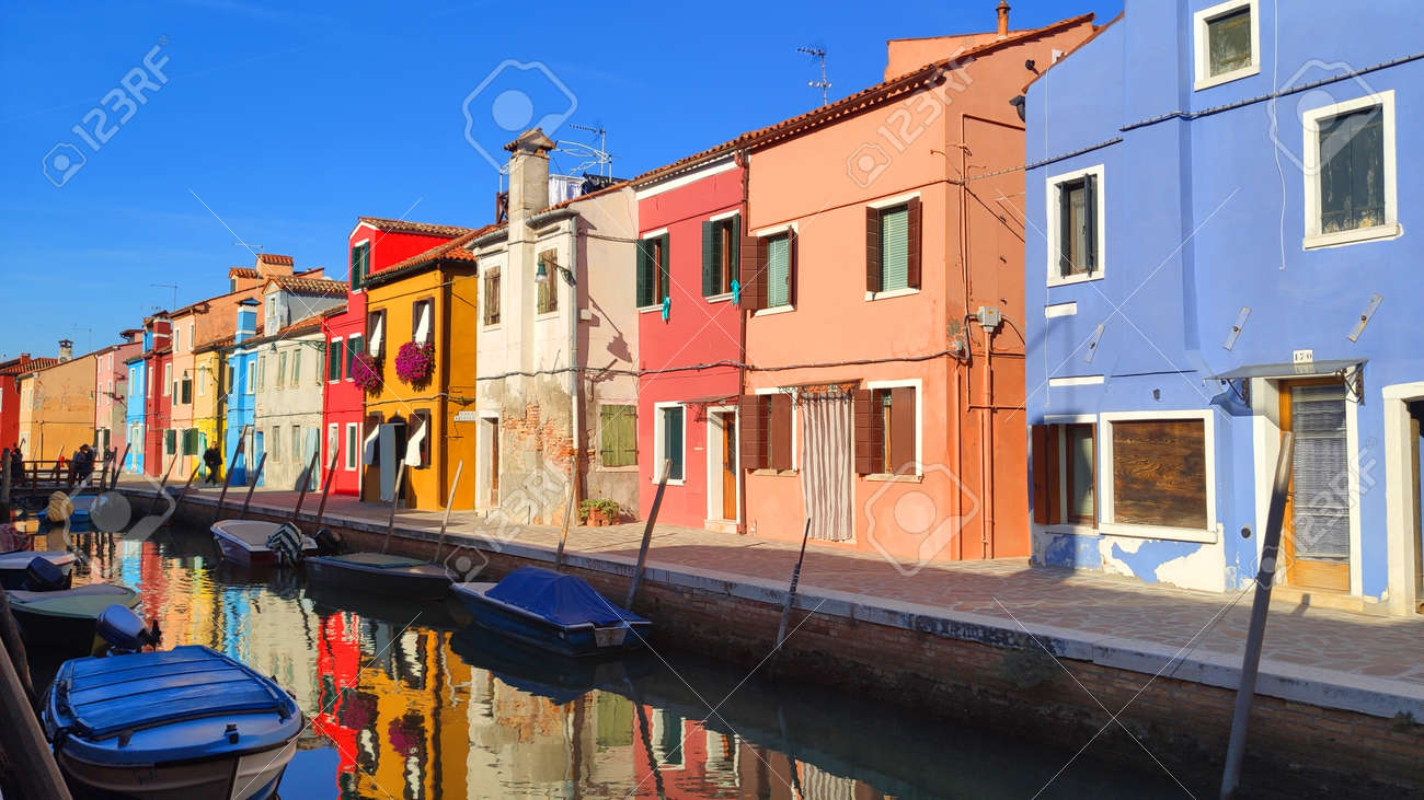 Venice Italy Burano City view island with colorful houses in with boats - 169323702