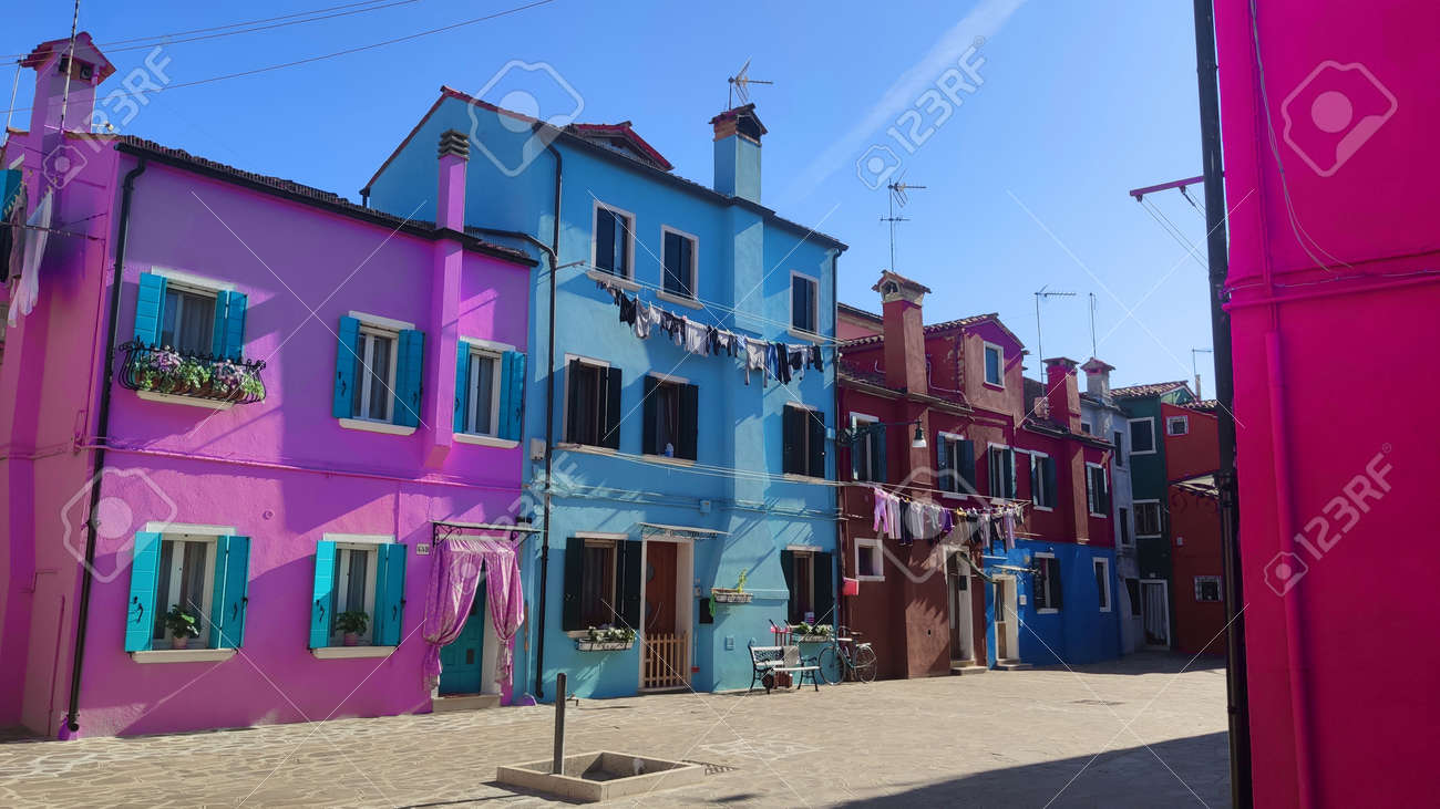 Venice Italy Burano, City view island with colorful houses - 164623017