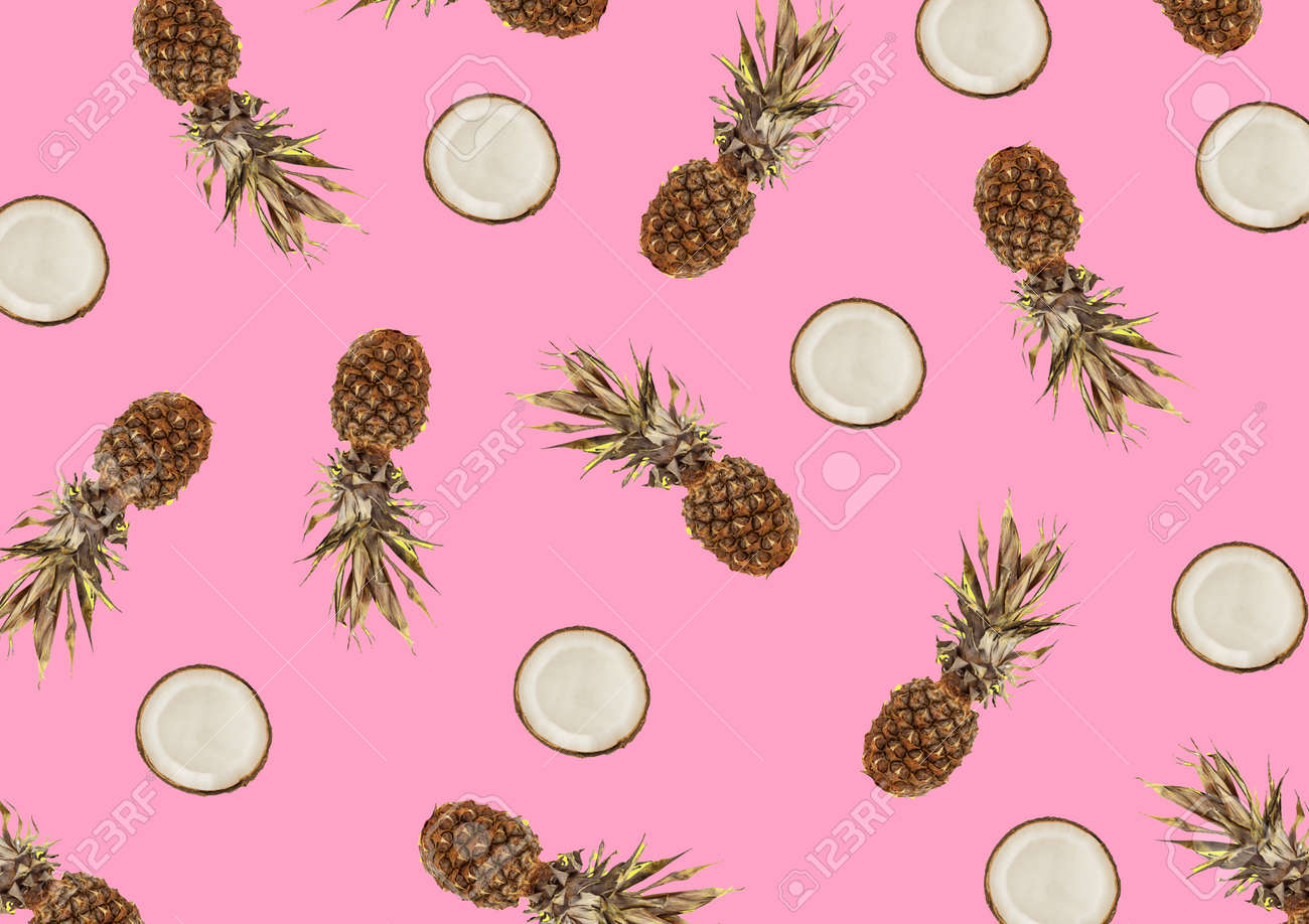 minimalist tropical pattern with exotic pineapple and coconut fruit on a pink background - 163505578