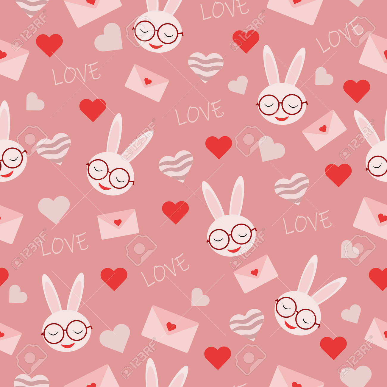 seamless vector pattern with heart shapes pink envelope with rabbit in glasses and inscription love for valentines day holiday - 163505598