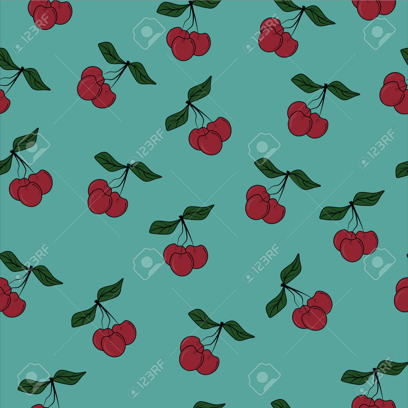 seamless patter with juicy berries, fruits, cherries and textiles - 164080590