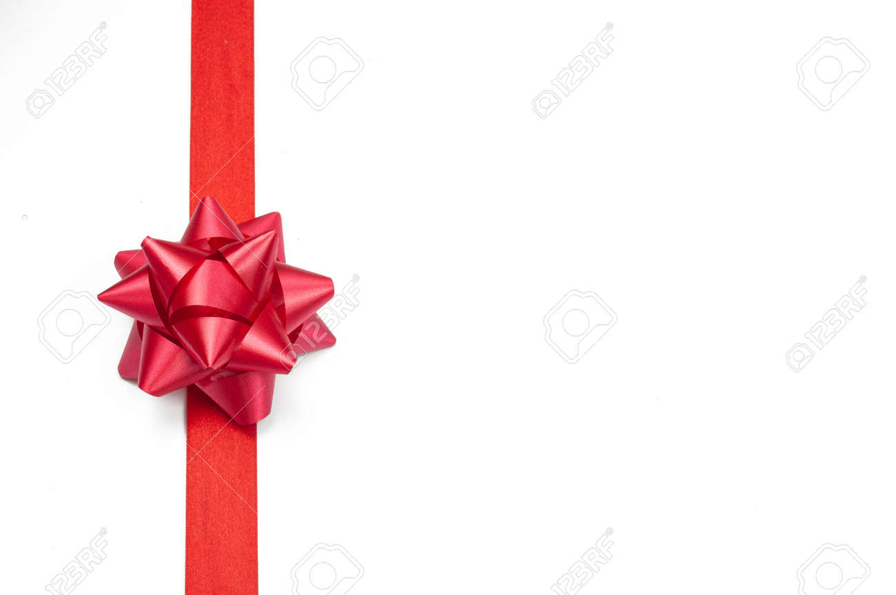 elegant festive knotted bow ribbon for gift red on isolated white background for valentine's day and new year - 162659310