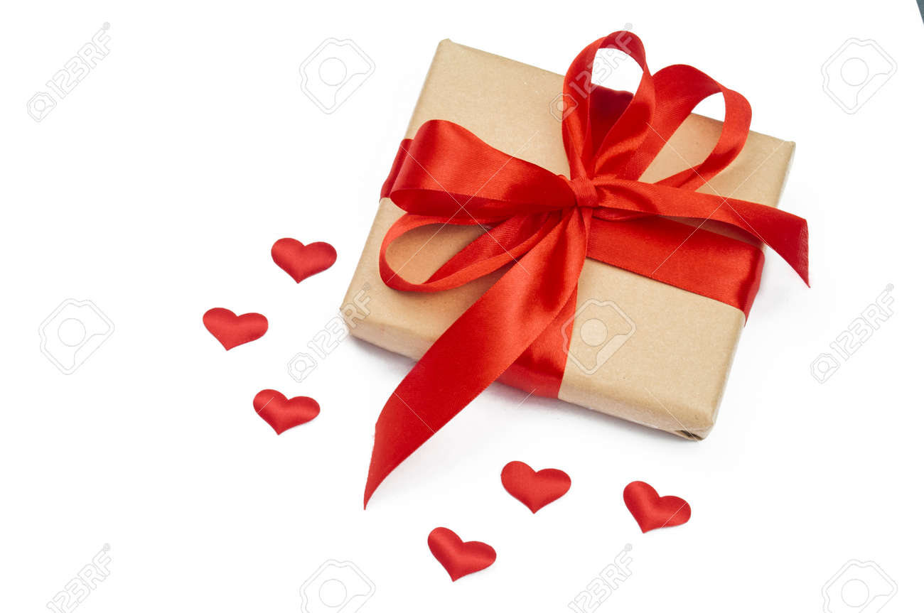 gift box with bow and ribbon red for february valentine's day - 162711409