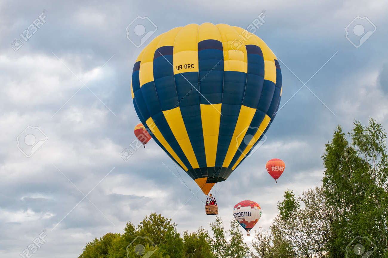 Kiev Ukraine - May 5, 2021 balloons are lifted into the sky at a festival in nature - 171121881