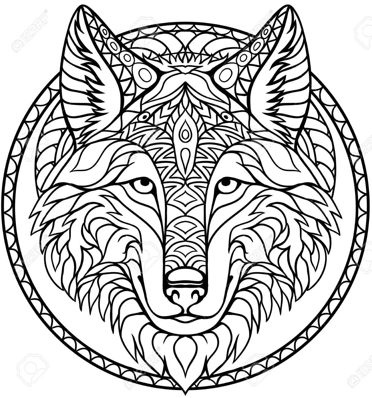 - Doodle Wolf Coloring Book Outline Drawing In Vector Royalty Free