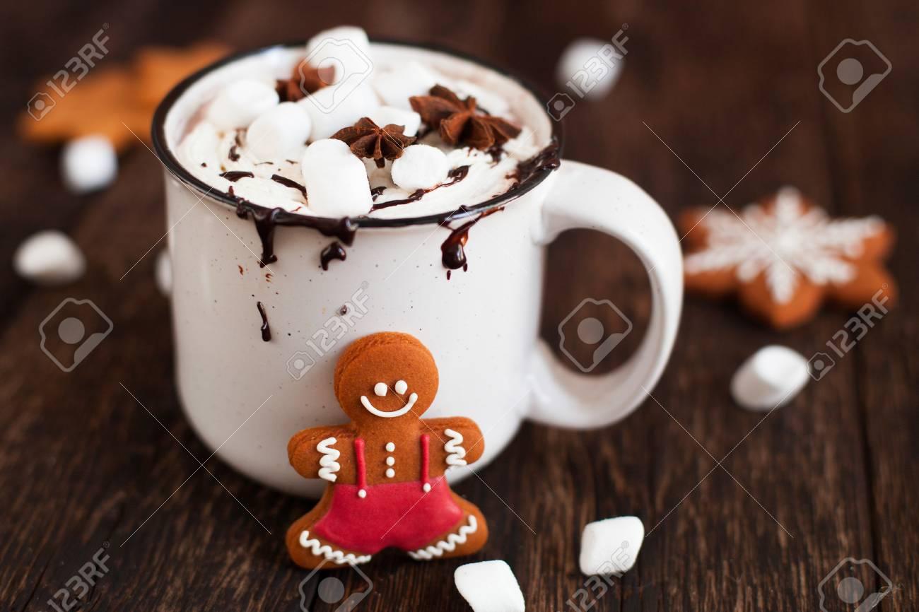 Mug Of Hot Chocolate Or Cocoa With Christmas Cookies And Marsmallow