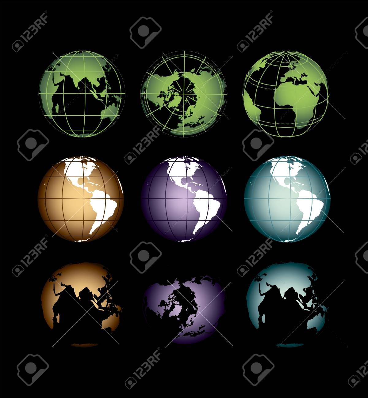the globe of the earth in different positions on a dark background Stock Vector - 18764052