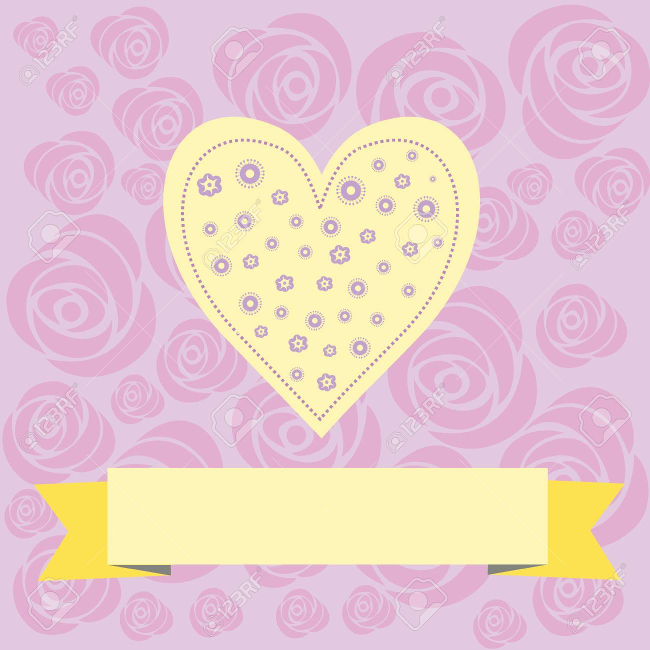 Beautiful Vector Love Heart Sweets With Banner For Text Royalty Free