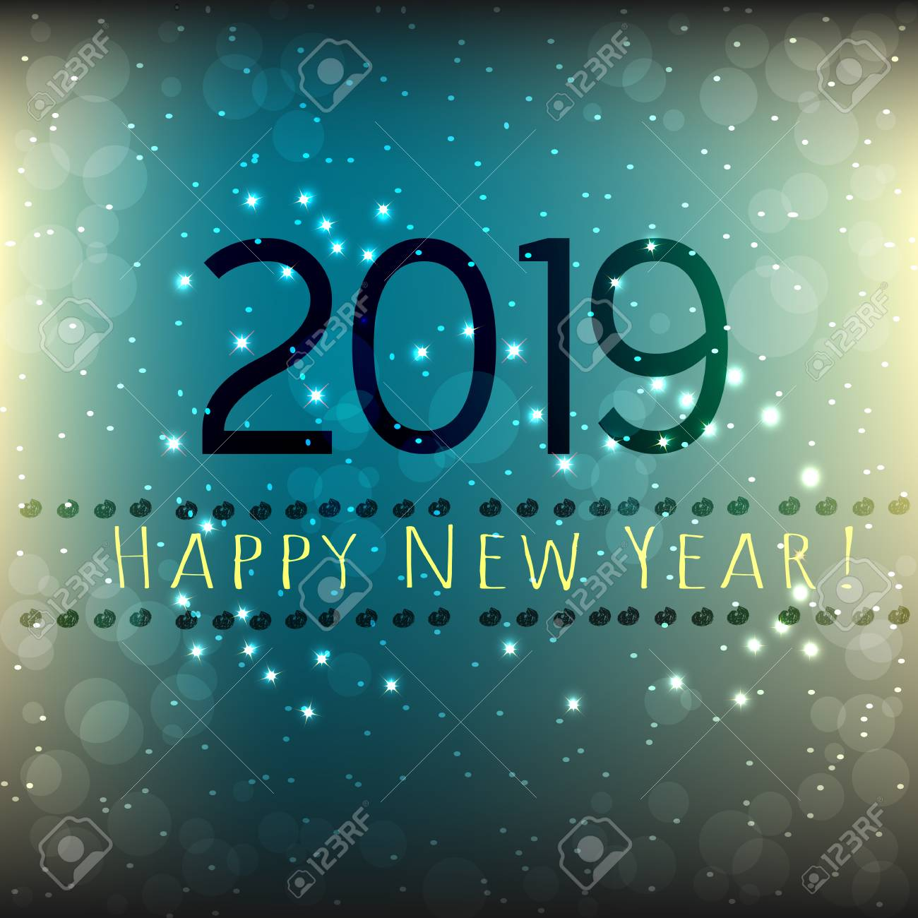 happy new year 2019 card abstract dark blue and grey background with stars vector