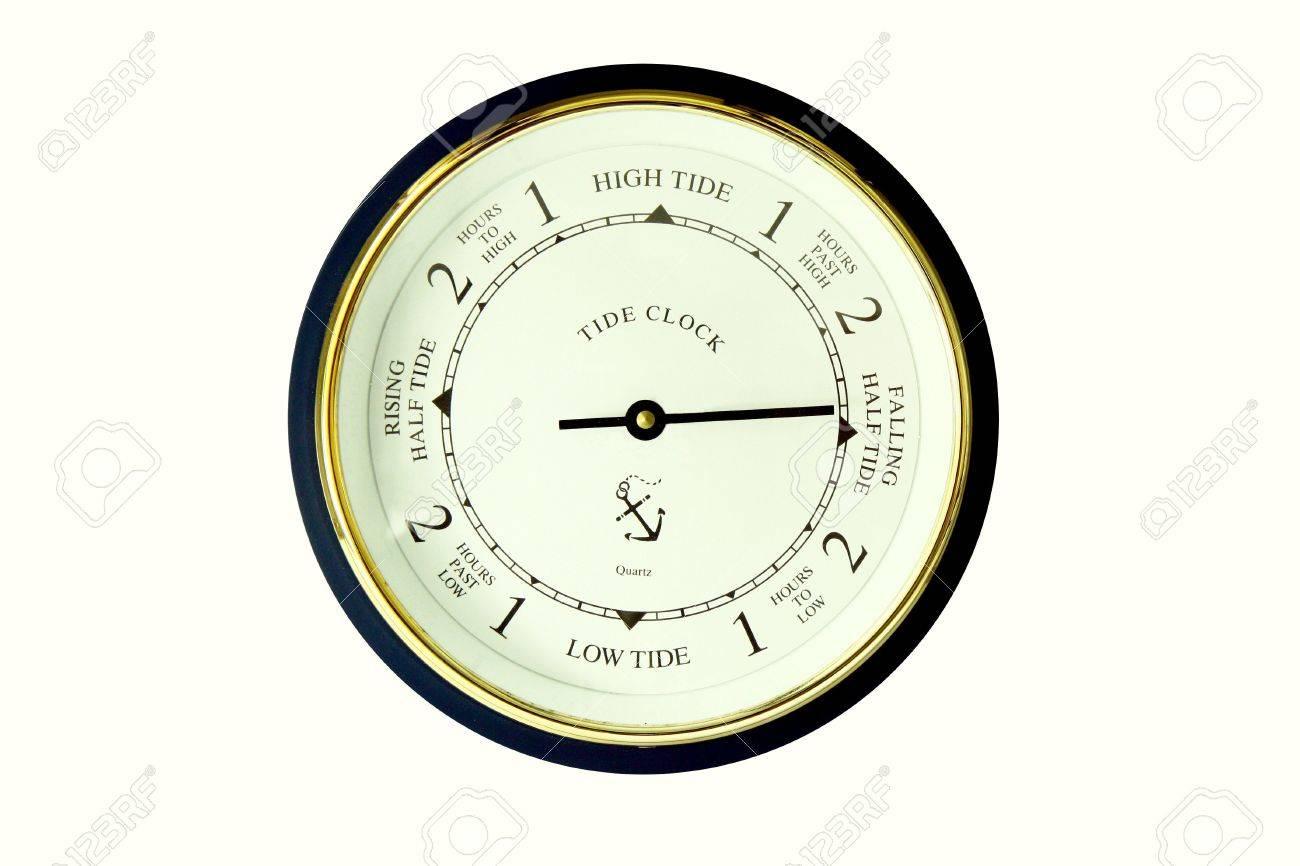 a modern tide clock on a white background stock photo - Tide Clock