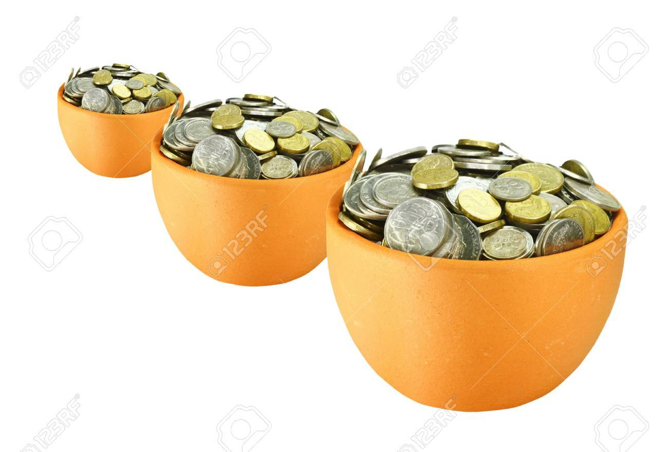 three ceramic pots with coins on white background Stock Photo - 7678317