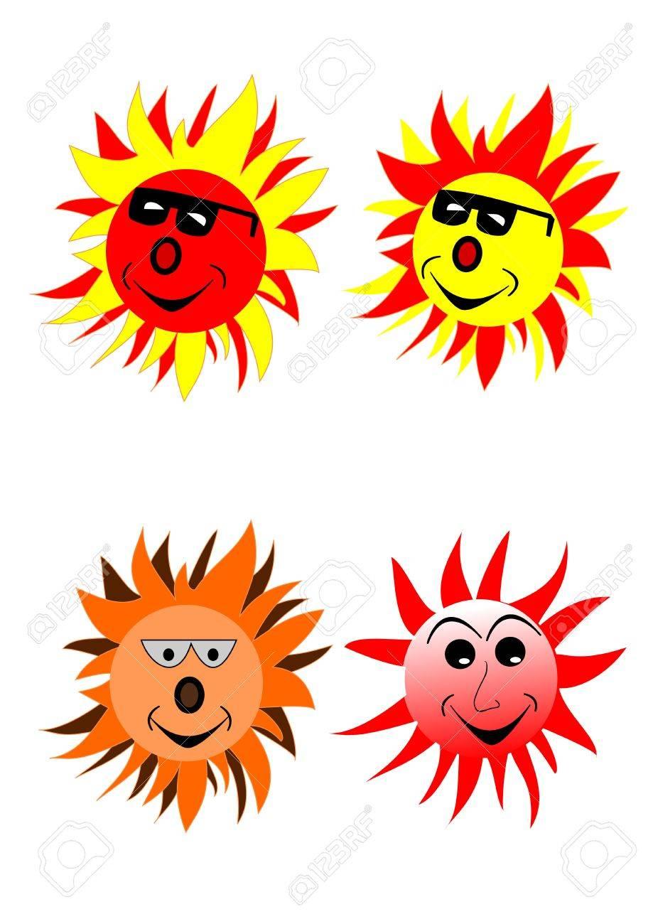 a cartoon sun with sunglasses on white Stock Vector - 7745585