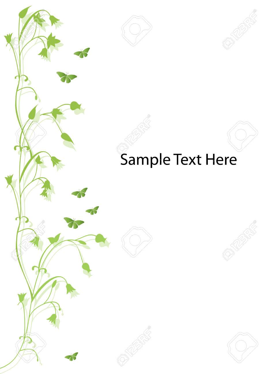 green floral design with butterflies and room for text Stock Vector - 8923479