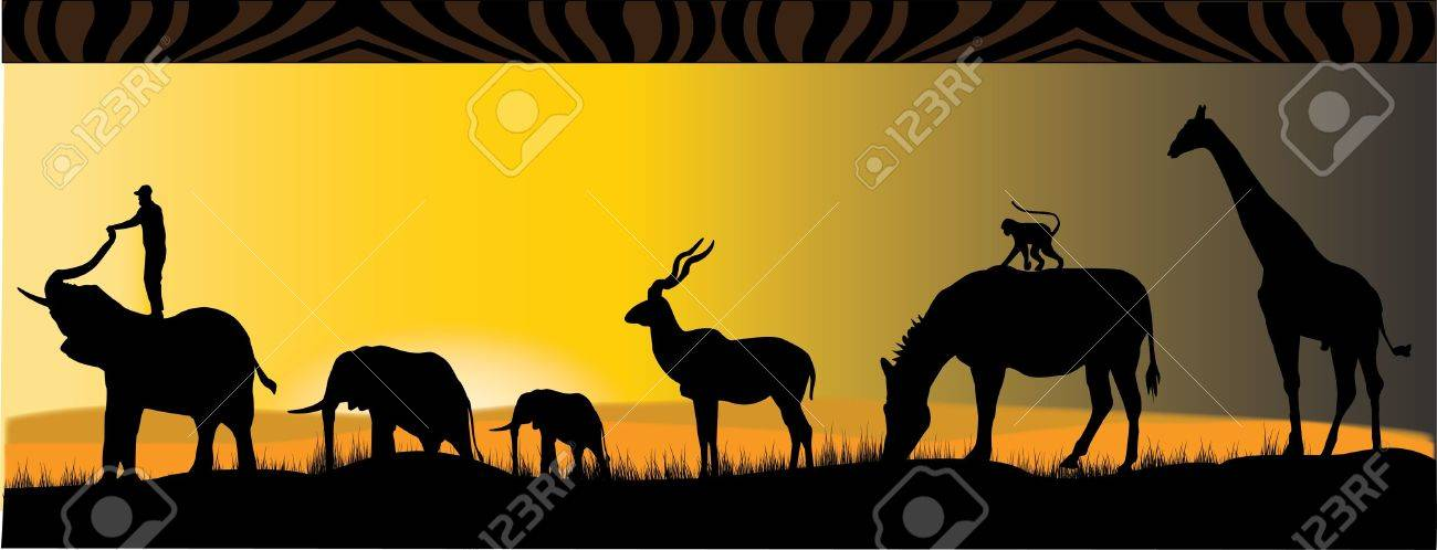 six different african animals in the sunset Stock Vector - 9543842