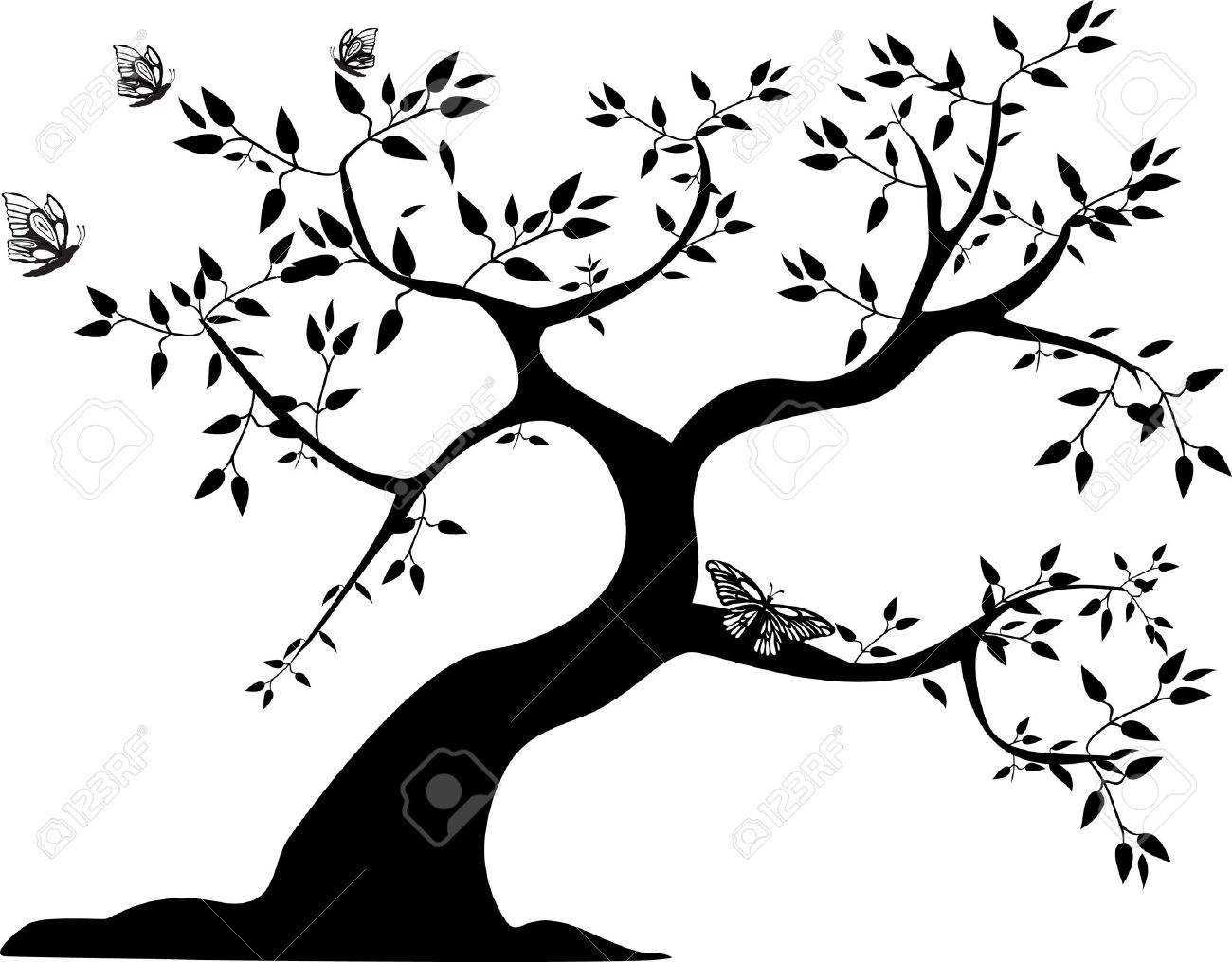 a single black tree with three butterflies - 10283292