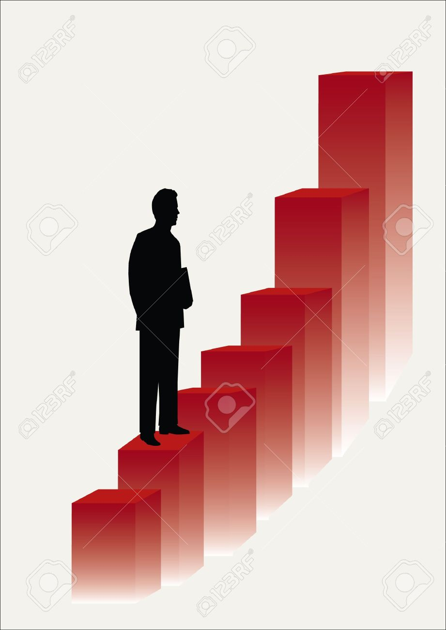 one business man climbing the corporate ladder Stock Vector - 11869991
