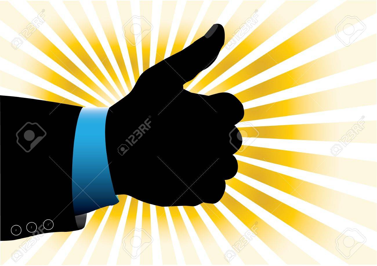 hand with yellow rays in the background Stock Vector - 14643255
