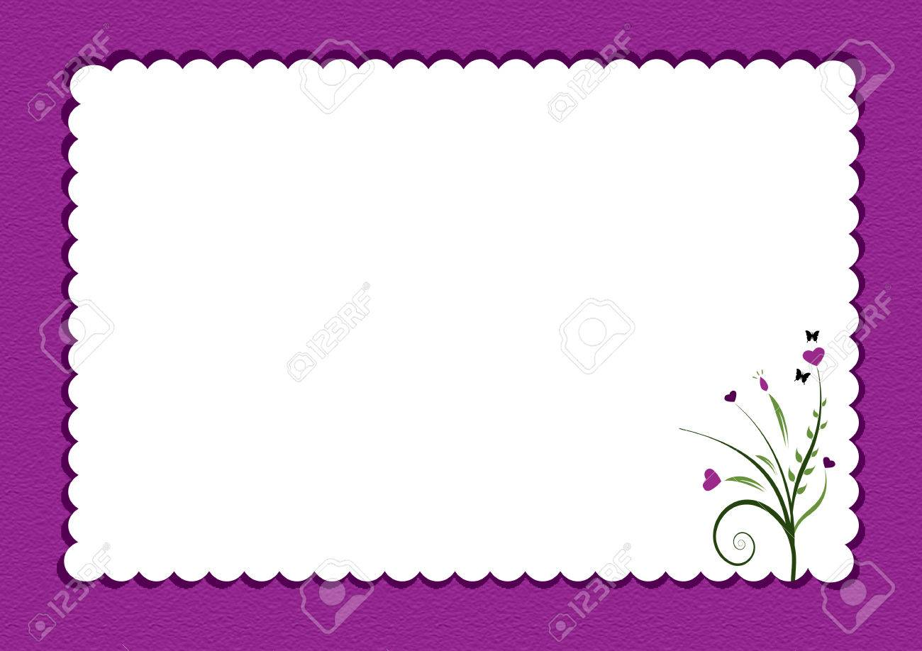 Purple Scalloped Border With Flowers Used As Gift Card Royalty ...
