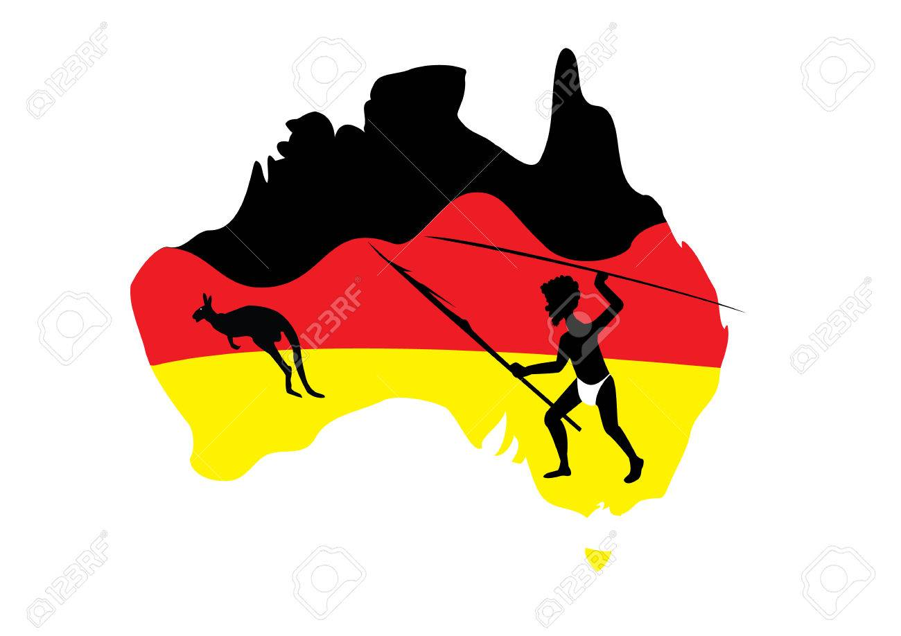 map of australia in black red and yellow with a aboriginal man