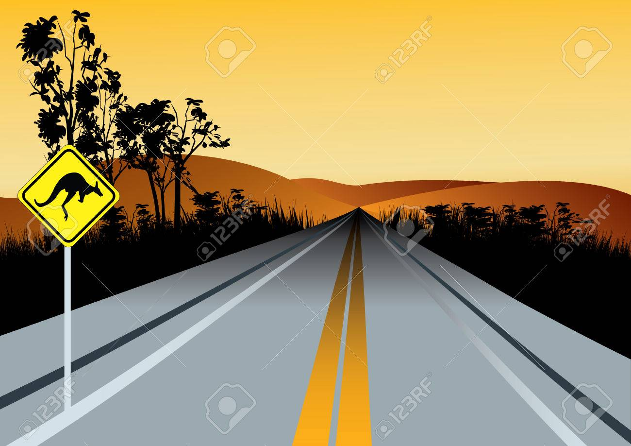 Illustration of Australian straight road with kangaroos ahead road sign, red hills and sunset sky in background - 70943035
