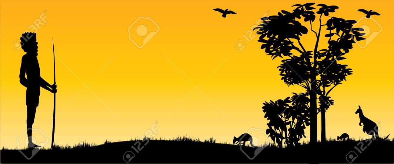 Australian Sunset with kangaroos and hunting aboriginal man as panorama view - 118434704