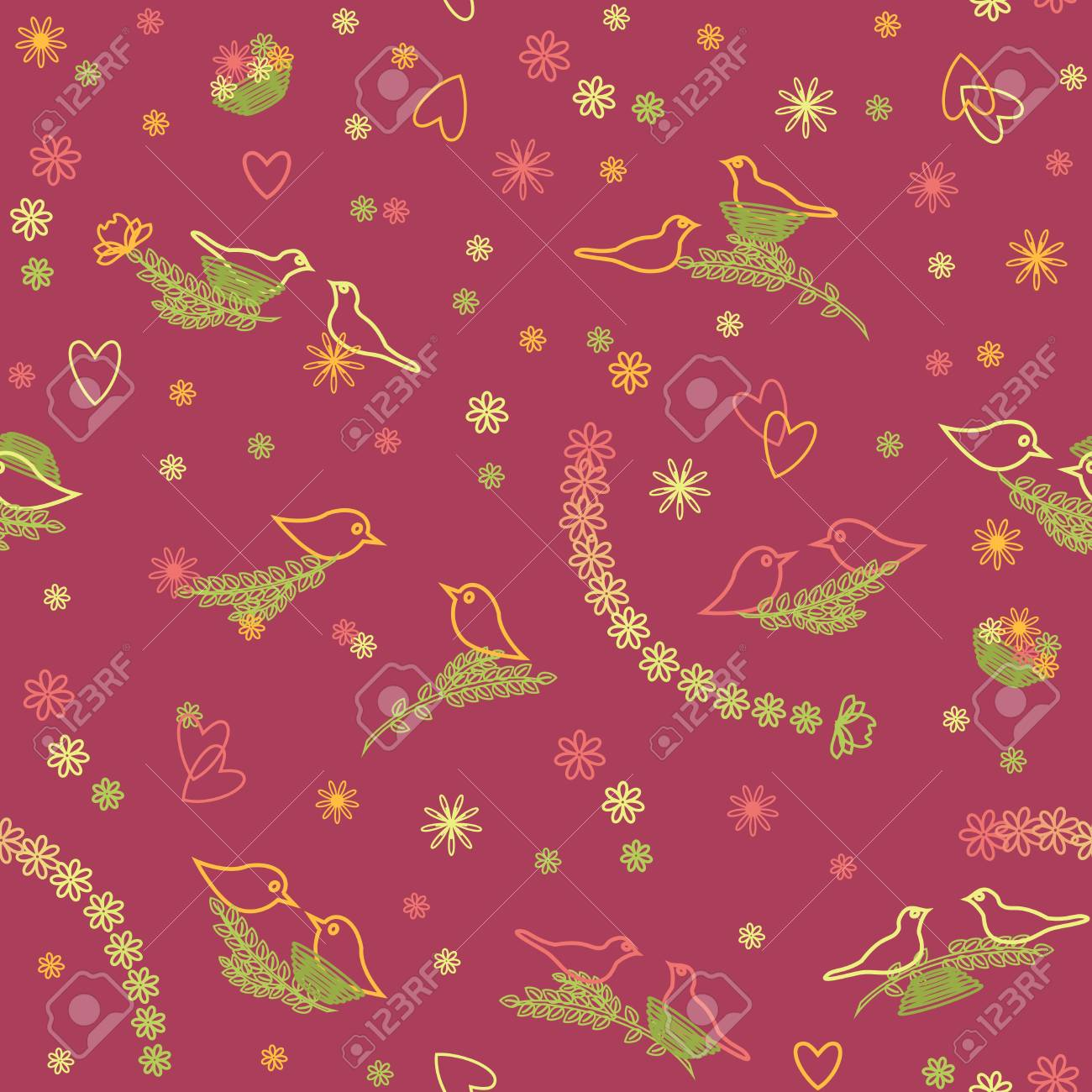 Colorful seamless pattern with branches and birds Stock Vector - 15399079