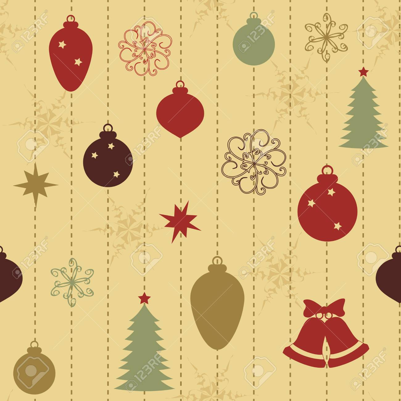 Christmas seamless pattern with balls and fir-tree Stock Vector - 16000524
