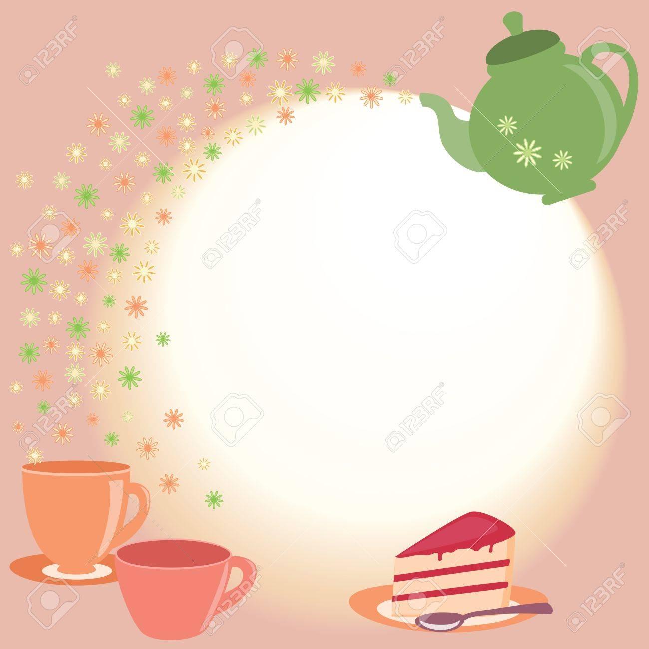 Elegant tea party invitation template with teacups cartoon vector - Tea Time Teacups Bright Tea Card With Teapot Cups And Flowers Illustration