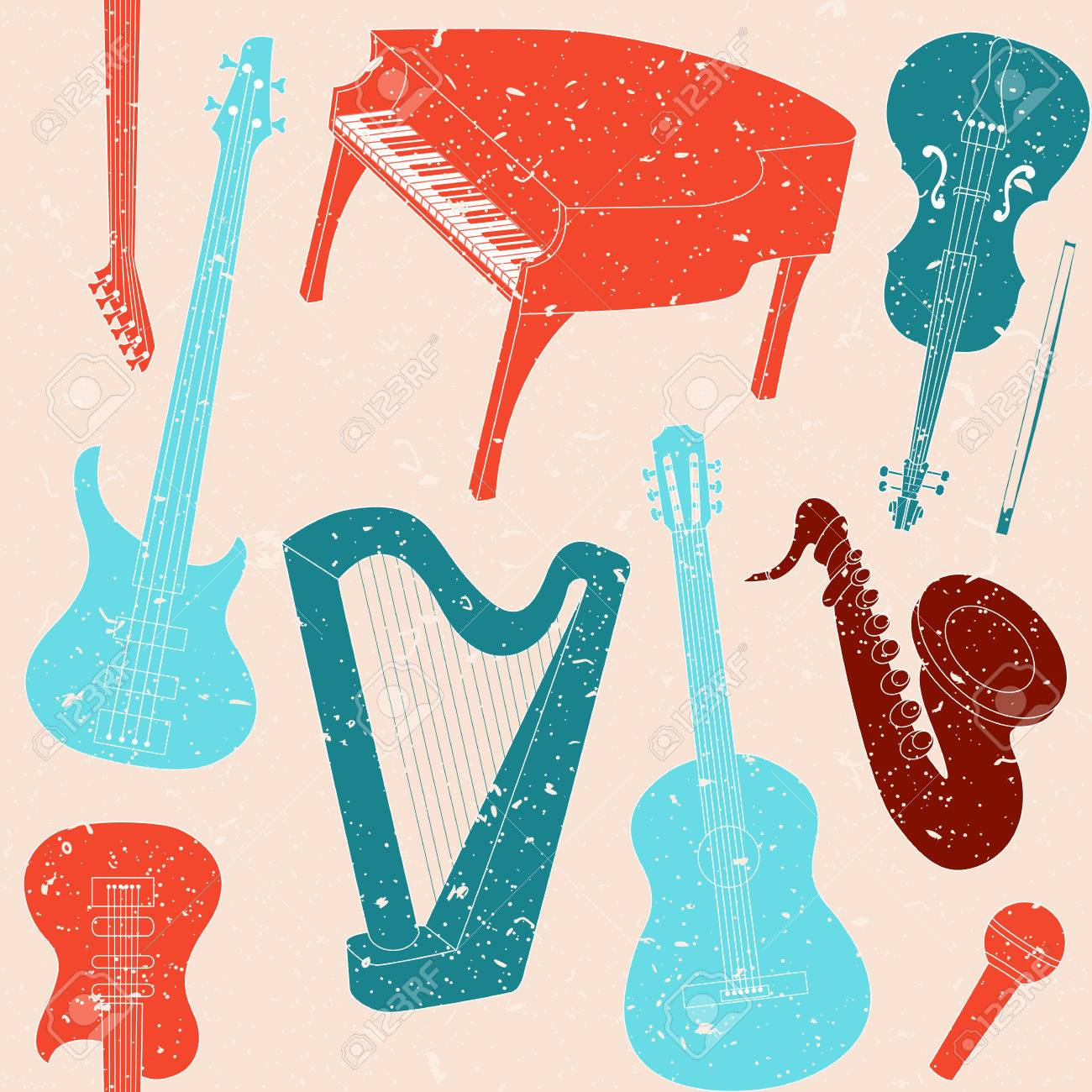Grunge seamless pattern with musical instruments silhouettes Stock Vector - 25126002