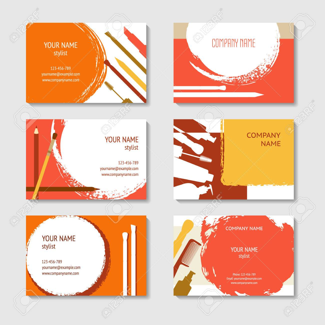 Cosmetic And Makeup Business Cards Set. Template For Poster ...