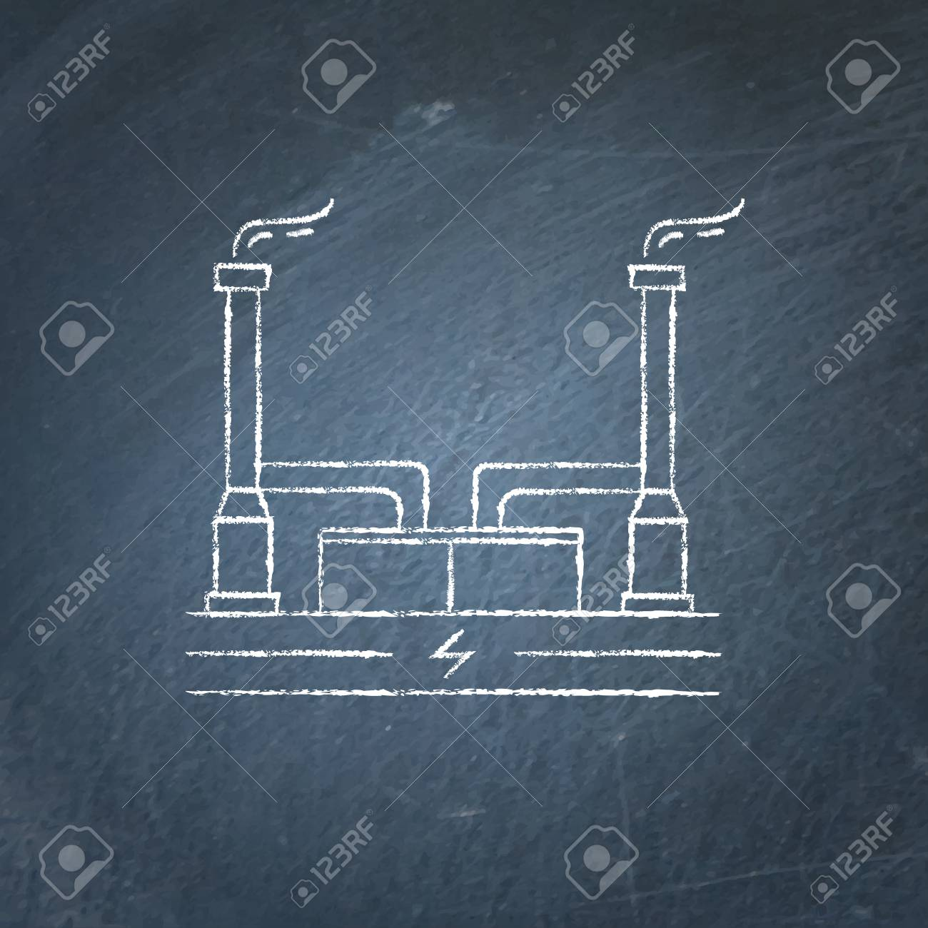 power plant schematic symbols outline geothermal power plant icon sketch on chalkboard  outline geothermal power plant icon