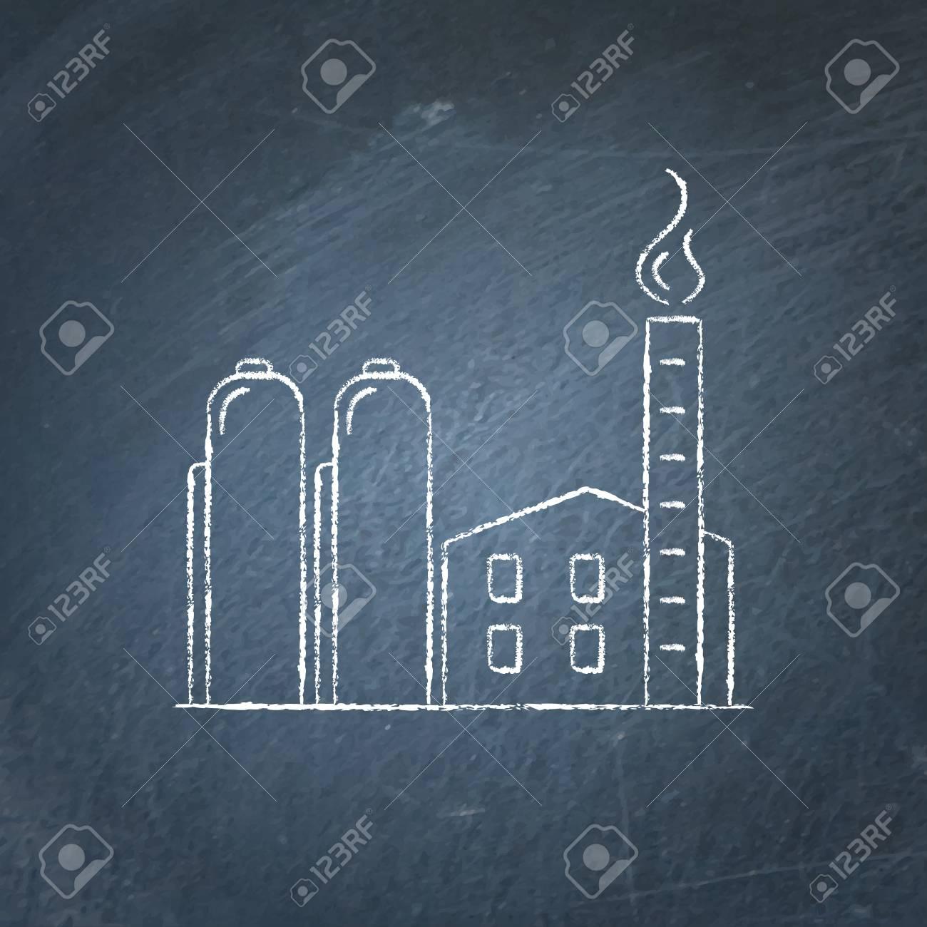 Croquis D Icône Plante Gaz Naturel Sur Tableau Noir Concept Industriel D énergie Non Renouvelable Symbole De L énergie Fossile Craie Dessin Sur
