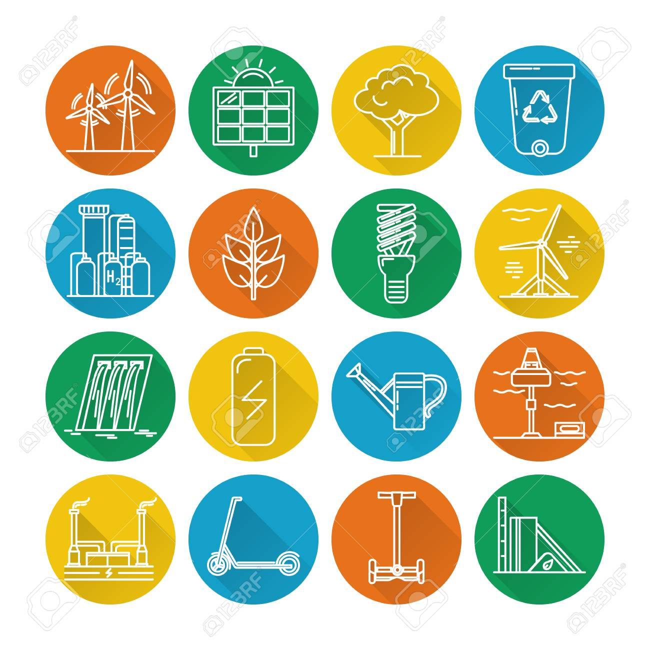 Collection of energy and ecology round icons in thin line style