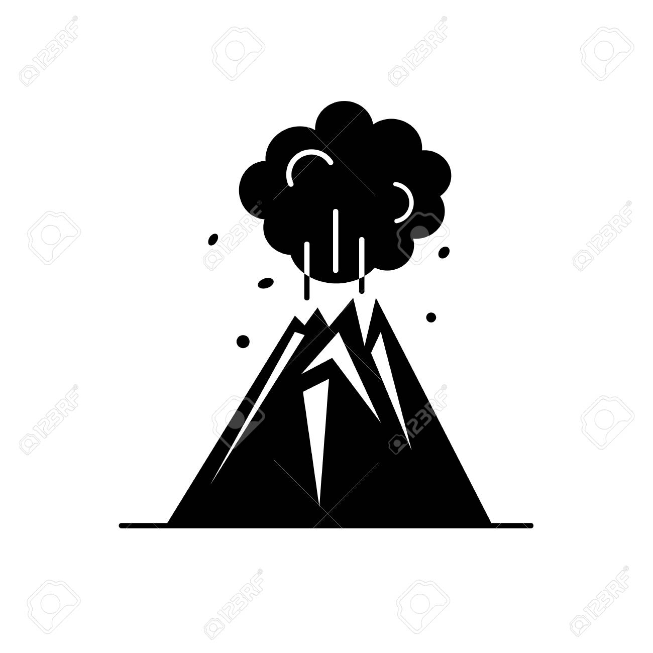 Volcano Eruption Silhouette Icon In Flat Style Mountain Symbol