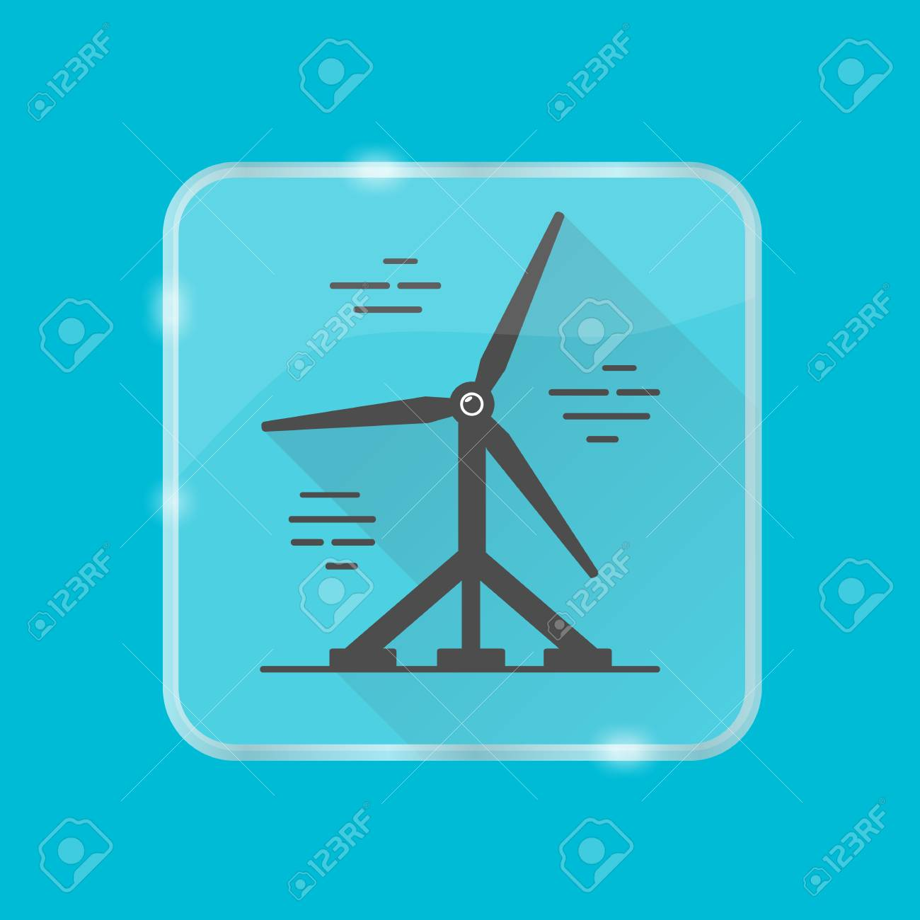 Tidal Energy Silhouette Icon Isolated Water Turbine Symbol In