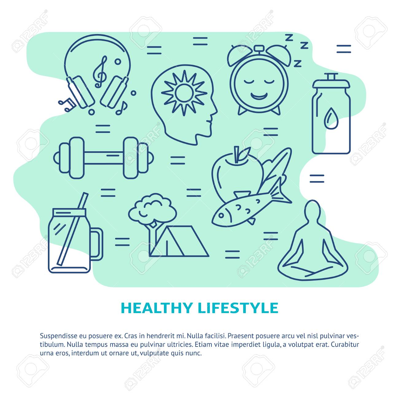 Healthy lifestyle concept banner in line style - 122117511