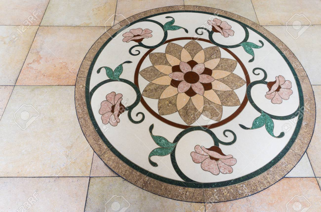 Five Circle Flowers On A Marble Floor With Round Frame Stock Photo Picture And Royalty Free Image Image 37788568