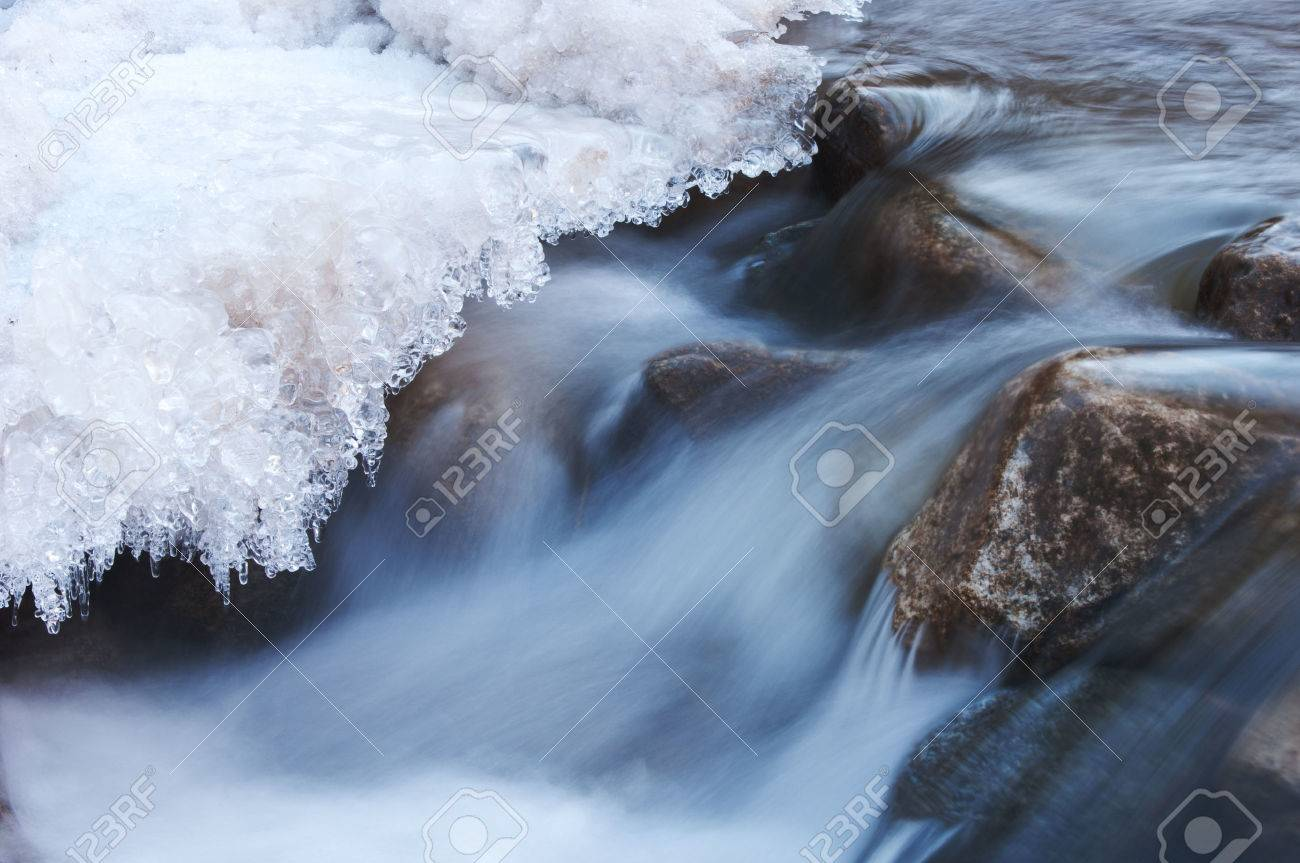River in winter.  Ice on river in frosty winter sunset Stock Photo - 25070240