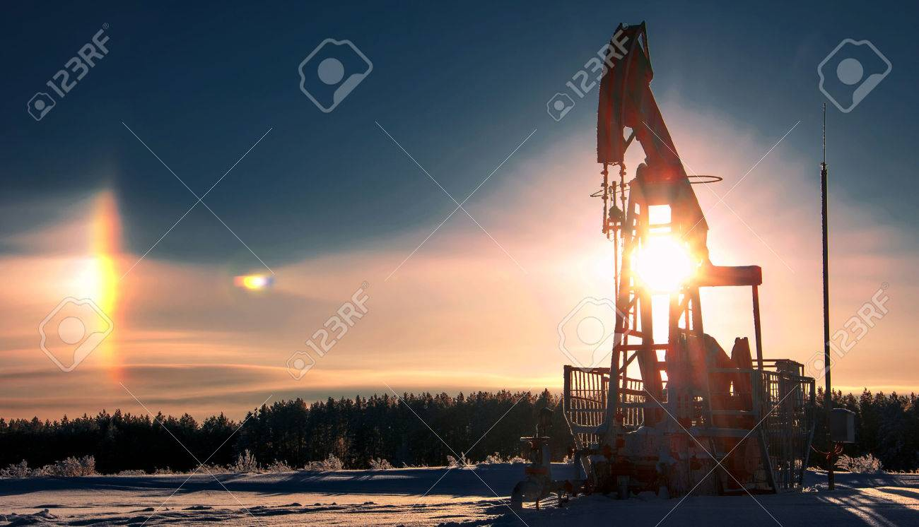 rocking oil. Oil pumps. Oil industry equipment. wheat field Stock Photo - 38830799