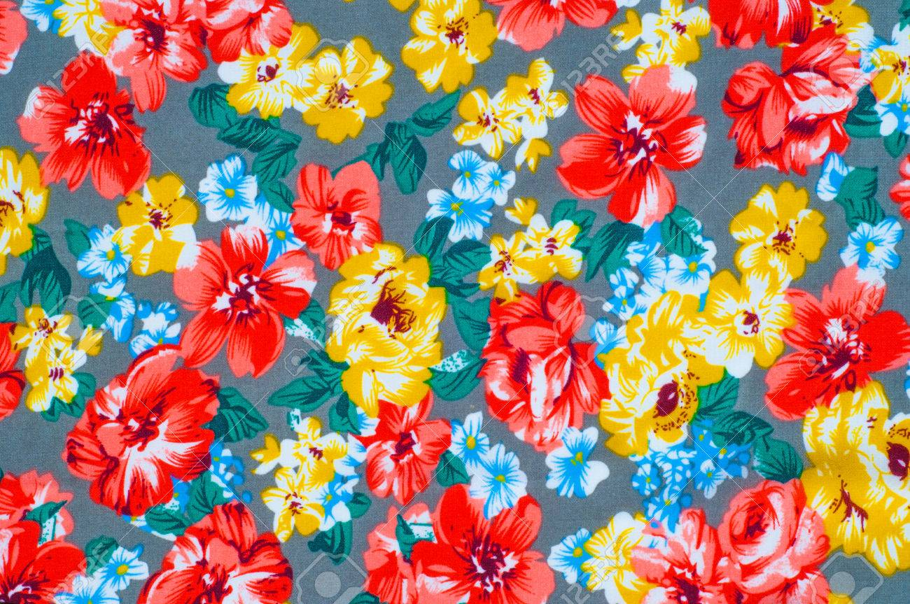 Texture Silk Cloth Yellow Red Flowers Painted On Cloth Abstract