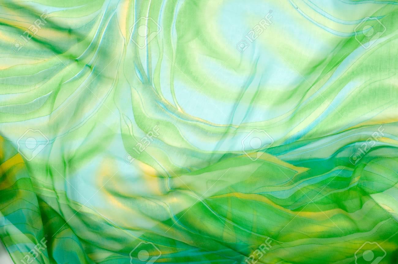 Immagini Stock Tessuto Di Seta Texture Sfondo Verde E Giallo